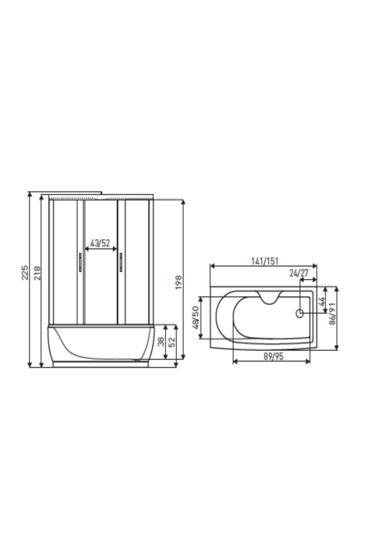 kabina hydromasażowa Mocca - rysunek techniczny