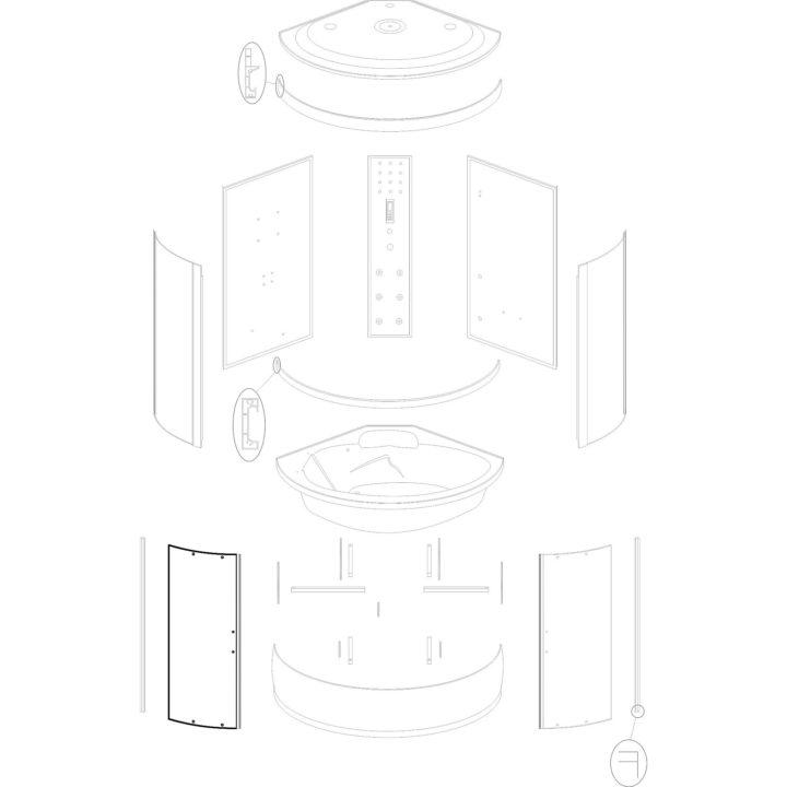 szyba drzwiowa do kabiny hydromasażowej Kerra P 135