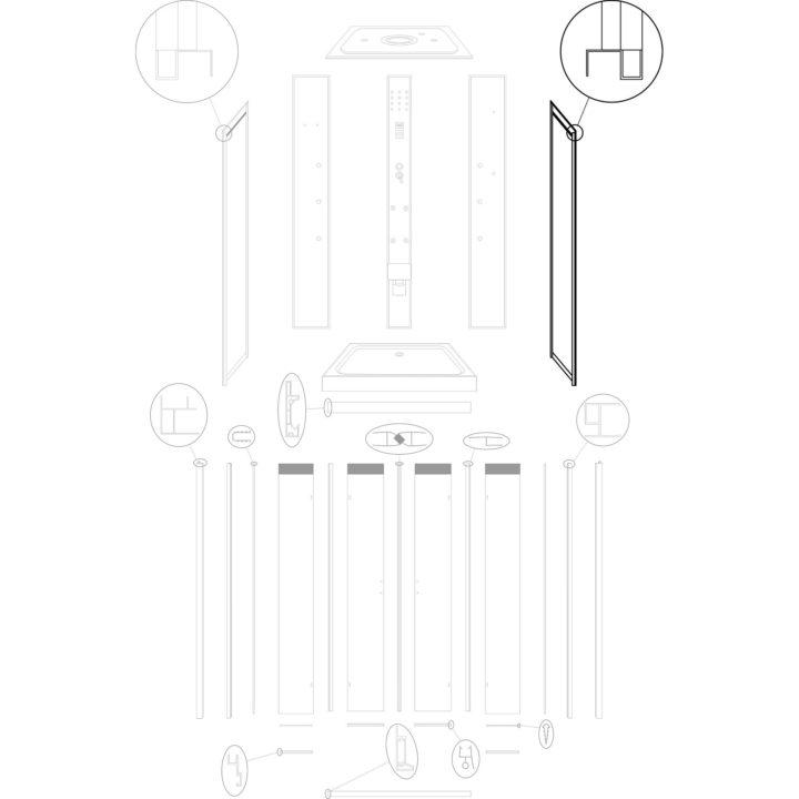 ścianka boczna prawa do kabiny hydromasażowej Kerra Tuluza nowa wersja