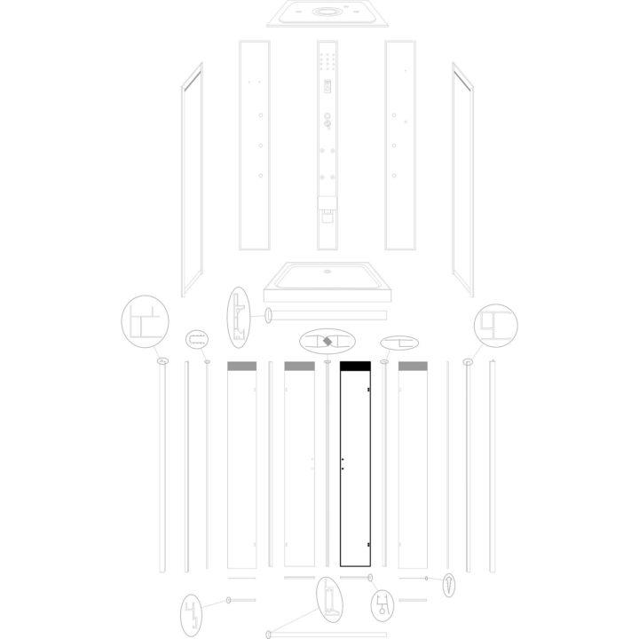 szyba drzwiowa prawa do kabiny hydromasażowej Kerra Tuluza