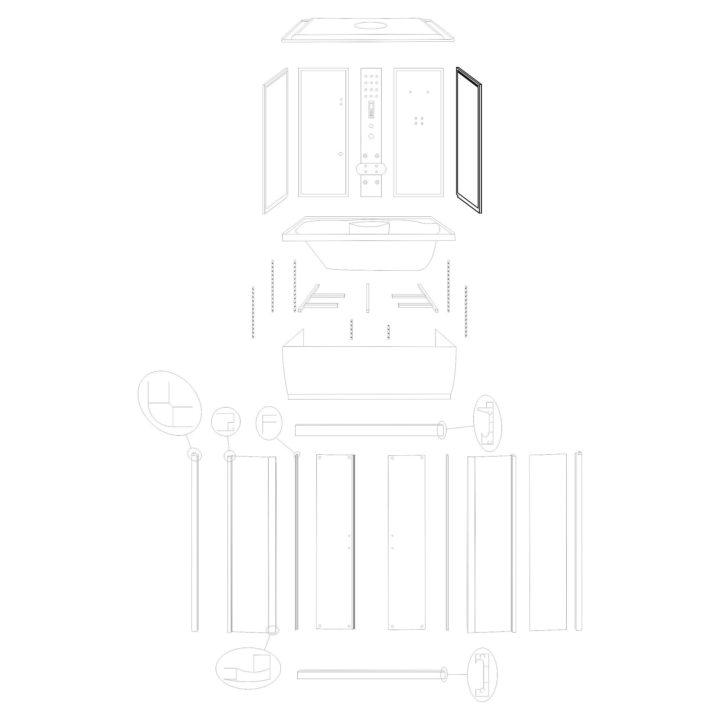 """Oryginalna ścianka boczna prawa do kabiny hydromasażowej """"Malaga 120 150"""" marki Kerra. Zestaw składa się z szyby fabrycznie osadzonymi profilami."""