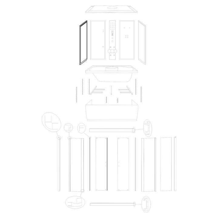 """Oryginalna ścianka boczna lewa do kabiny hydromasażowej """"Malaga 120 150"""" marki Kerra. Zestaw składa się z szyby z fabrycznie osadzonymi profilami."""