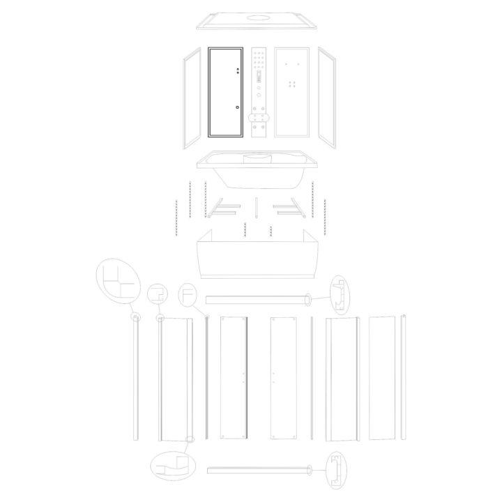 """Oryginalna ścianka tylna lewa do kabiny hydromasażowej """"Malaga 120 150"""" marki Kerra. Zestaw składa się z szyby z fabrycznie osadzonymi profilami."""