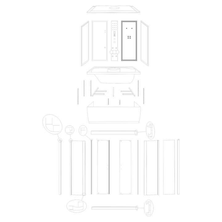 """Oryginalna ścianka tylna prawa do kabiny hydromasażowej """"Malaga 120 150"""" marki Kerra. Zestaw składa się z szyby z fabrycznie osadzonymi profilami."""
