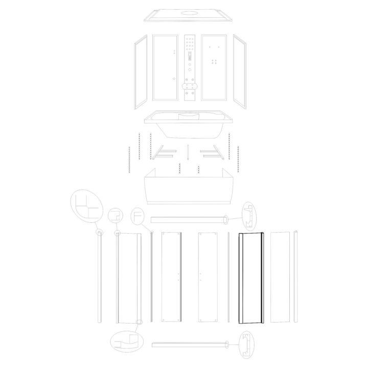 """Oryginalna ścianka przednia prawa do kabiny hydromasażowej """"Malaga 120 150"""" marki Kerra. Zestaw składa się z szyby z fabrycznie osadzonymi profilami."""