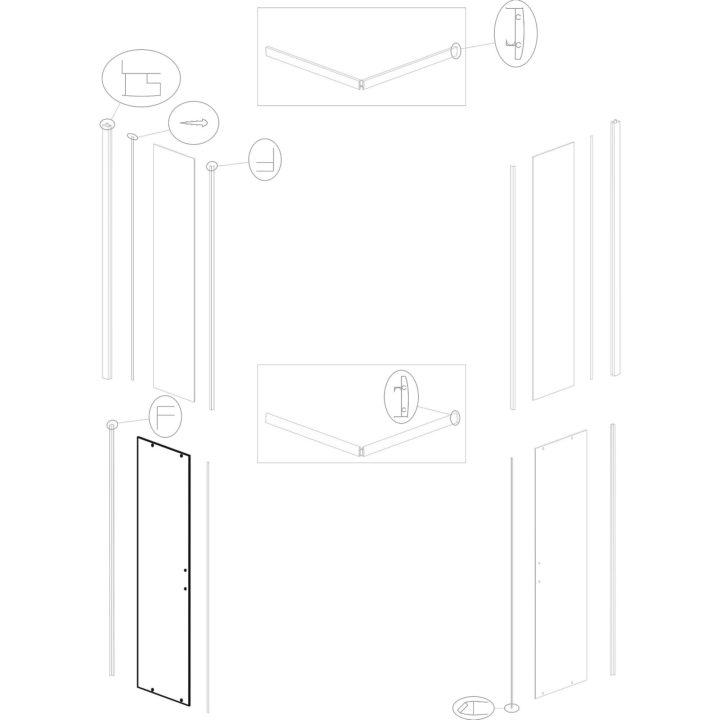 "Original door glass for shower cabin Kerra ""Madera Str 80 90 SQ""."